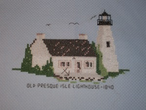 Old Presque Isle Lighthouse Cross-stitch